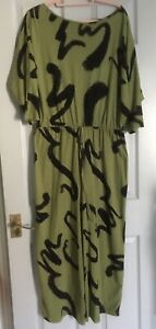 80s Style Retro Graphic Print Olive Green Black Jumpsuit 16