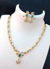 Indian Pakistani Bollywood American Diamond Necklace Green Gold Tone Party Wear