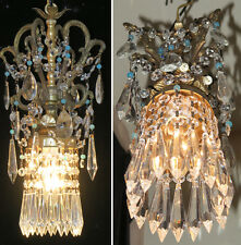 1 beaded ROCOCO Vintage SWAG plugin Brass spelter hanging lamp chandelier