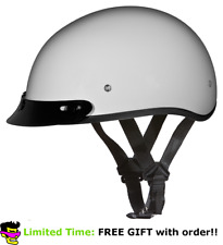 Daytona Pearl White Skull Cap W Visor DOT Slim Motorbike Motorcycle Helmet +