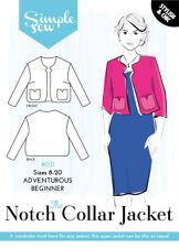 Womens Ladies Beginner The Notch Collar Jacket UK 8-20 Sewing Pattern