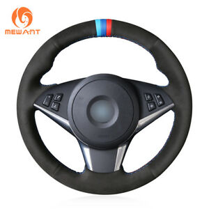 Safe Black Suede Steering Wheel Cover for BMW M5 E60 M6 E63 E64 5 Series E60 E61