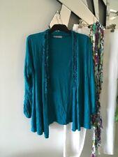 REGATTA Emerald Green 3/4 Sleeve Stretch Crushed Cardigan Wrap Cape 14 12 PC