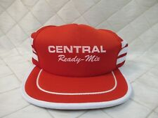Central Ready Mix Trucker Hat Snapback Size-a-just 3 Stripes Red White NEW NOS