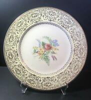 """VTG Hand Painted Floral plate w 23K GOLD TRIM filigree look Porcelain 10-3/4"""""""