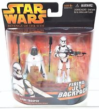 Star Wars ROTS Figure CLONE TROOPER Firing Jet Backpack Hasbro 2005 MOC~