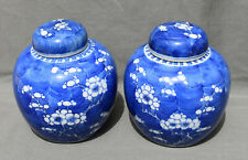 Antique Chinese 18/19th c. Pair of Porcelain Ginger Jars  Kangxi Blossom Prunus