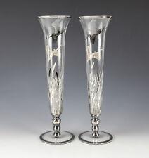Pair Sterling Silver Overlay on Glass Bud Vases, c1930. Birds Flying over Marsh