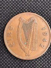 1942 Eire Ireland Copper 1d One Penny, Chicken Hen Harp