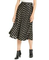 Alfani Women's Pleated Metallic Chevron Stripe Skirt, Black, Size 14, $90, NwT