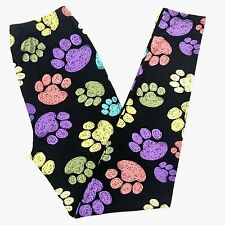 Buttery Soft Dog Paw Print Leggings One Size S M L Animal Paw Print Dog Black OS