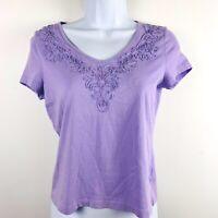 Talbots Petites Womens Top Sz P Purple Embroidered Neck Short Sleeve Summer  N7