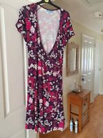 Fab Joe Browns Purple Mix Floral Wrap Style Dress, Smart, Size 18, VGC
