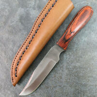 "10.25"" Hunting Skinner Sawmill File Knife w/ Tooled Leather Sheath Extra Large"