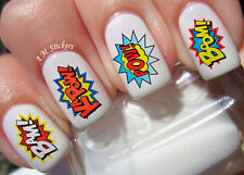 Pow! Bam! Wham! Zap! Boom! Biff! Nail Art Stickers Transfers Decals Set of 38