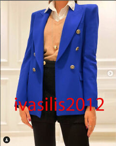 ZARA NEW WOMAN TAILORED DOUBLE-BREASTED BLAZER JACKET COBALT BLUE XS-XL 8858/293
