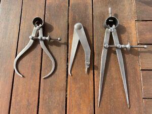 Three vintage Moore & Wright Sheffield Engineers steel callipers