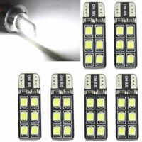 6Pcs T10 12-SMD LED Canbus Error Free Silica Light Bulb 6000K W5W/194/168/2835
