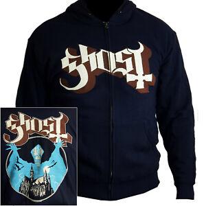 Ghost Opus Eponymous Logo Zip Hoodie M L XL XXL Black Hooded Sweatshirt Official