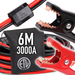 3000AMP Jumper Leads 6M Long Reverse Polarity Protection Jump Car Booster Cables