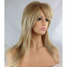 LONG LADIES WOMANS FLICK & LAYERED WIG TWO TONE BLONDE, DARK BROWN, LIGHT BLONDE
