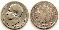 Spain-Alfonso XII. 1 Peseta. 1881. Madrid. MBC/VF. Plata 5 g. MUY ESCASA