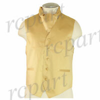 New Men's Formal Tuxedo Vest Waistcoat solid & Ascot cravat Gold Prom