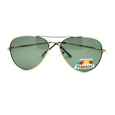 Polarized Lens Metal Wire Rim Aviator Sunglasses with Spring Hinge - Silver