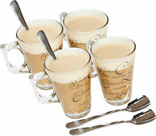 4 x Script Latte Macchiato caffè cappuccino chiaro CAFE BICCHIERI TAZZE 8 OZ (ca. 226.79 g) con Set cucchiai