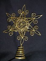 20cm Silver or Gold Star Christmas Tree Topper - Wire Metal Tree Top Decoration