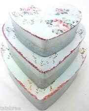 Set of 3 Vintage Rose Heart Tins