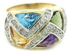 4.31ct Multi Gem & Diamond 9ct 375 Solid Gold Ring - SZ N/7.0 - 30 Day Returns