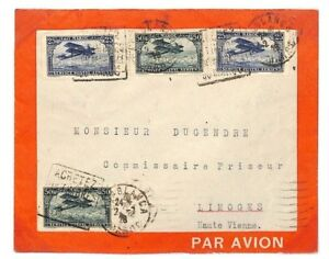 MOROCCO Casablanca Air Mail Red Border Cover 1928 France Cols Album Page AG115