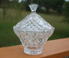 Diamond & Floral Cut Clear Glass Candy Dish with Lid