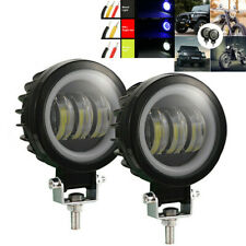 1 Pair 60W 3.5in Headlamp Blue Spotlight DRL Angel Eye Work Light For Car SUV