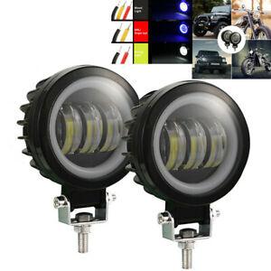 1 Pair 60W 3.5in Headlamp Blue Spotlight DRL Angel Eye Work Light For Car SUV