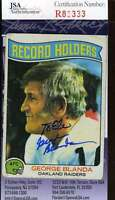 George Blanda Jsa Coa Autographed 1975 Topps Authentic Hand Signed Raiders
