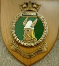 Vintage HMS WARRIOR ROYAL NAVY SHIP Plaque Wall Shield Hand Painted