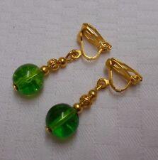 Orecchini a Clip con fatti a mano Verde Crackle Perle Placcato Oro Orecchini a breve