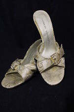 """CHINESE LAUNDRY Sparkle Gold""""Mimosa""""Textured Open Toe Mules Womens Size 8M-B34"""