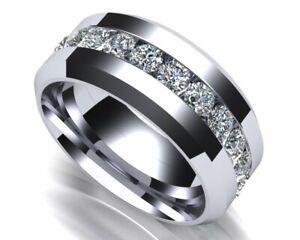 Channel set Engagement Men's Ring 14k White Gold Finish on 925 Sterling Silver