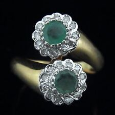 Vintage Diamonds Emeralds 14k Yellow White Gold Flower Bypass Floral Ring Estate