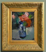 JOSE TRUJILLO SIGNED CANVAS MODERN Oil Painting FRAMED IMPRESSIONISM RED FLOWERS