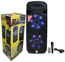 """Mr. Dj PSBAT6200 Dual 15"""" 4000W Max Power Speaker with Built-In Bluetooth USB"""