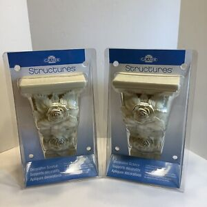 "Graber Structures Decorative Sconces Scroll Off-White Cream 9"" Tall Set New"