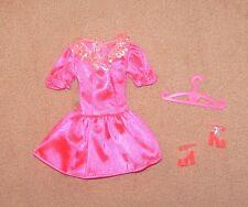 Barbie Doll Clothes Gorgeous Hot Pink Silky Dress. Mattel. Shoes, Hanger (64)