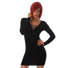 Sexy langarm Strickkleid Kleid Minikleid mit Kette V Ausschnitt 34 36 38 Schwarz