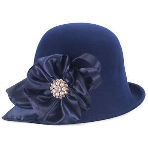 Women Floral Vintage Style Blocked Untrimmed Cloche Wool Felt Hat Millinery T475