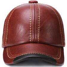 Adjustable Guarantee Genuine Cow Leather Baseball Cap Leather Hats for Men