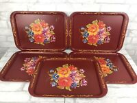 """Set 5 Vintage Red Floral Tole Painted Metal Trays Chippy Rustic Farmhouse 17x13"""""""